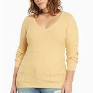 Torrid Yellow Gold Ribbed Vneck Sweater 3